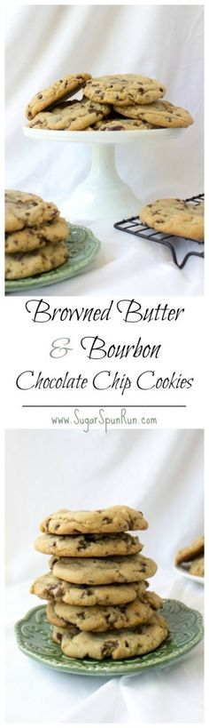 """""""Big, bakery style browned butter and bourbon chocolate chip cookies Healthy Chocolate Cookies, Butter Chocolate Chip Cookies, Best Chocolate Chip Cookie, Chocolate Muffins, Chocolate Chip Oatmeal, Yummy Cookies, Sugar Cookies, Yummy Treats, Sweet Treats"""