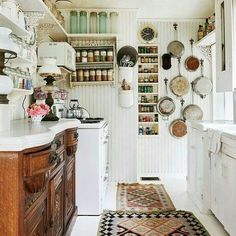 I like the frying pans. And the antique counter unit.