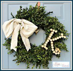 wine cork monogrammed boxwood wreath, repurposing upcycling, seasonal holiday d cor, wreaths, Monogr Christmas Mantels, Christmas Holidays, Christmas Decorations, Christmas Ideas, Xmas, Happy Holidays, Holiday Ideas, Merry Christmas, Craft Decorations