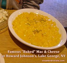 The last remaining HoJo's Restaurant is located in Lake George, NY. Skip your visit and just remember it the way it was. Lest you think we gest - this is their famous(? Baked Mac, Lake George, Mac And Cheese, Rv, Restaurants, Baking, Ethnic Recipes, Food, Motorhome