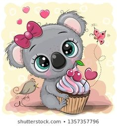 Illustration about Greeting card Cute Cartoon Koala with cake. Illustration of child, koala, bake - 143735905 Cartoon Cartoon, Kids Cartoon Characters, Cute Cartoon Girl, Cute Cartoon Pictures, Unicorn Pictures, Cute Images, Cute Pictures, Cute Animal Drawings, Cute Drawings