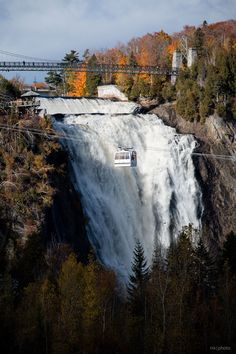 Sky Lift and Yellow Leaves at Montmorency Falls outside Quebec City, Autumn, Photo by Nicolas Michaud - Automne au Québec Places Around The World, Oh The Places You'll Go, Places To Travel, Places To Visit, Around The Worlds, Old Quebec, Montreal Quebec, Quebec City, Montreal Canada