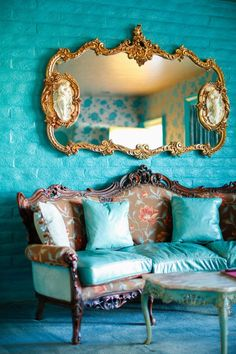 Madonna Inn: Romance Room Blue and gold. Living Room Decor, Living Spaces, Living Area, Interior And Exterior, Interior Design, Lunch Room, Turquoise, Teal, Aqua