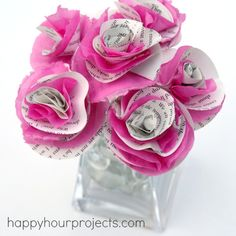 Book page & tissue paper flowers (no glue involved!)