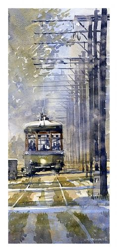 "St. Charles Line at 4th by Iain Stewart Watercolor ~ 15.5"" x 6.5"""