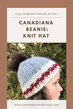 This knit wool blend chunky hat is soft and warm. The ivory and red striped brim and the soft grey body make this a classic winter beanie. It is super thick for the winter and perfect for hiking and getting outdoors. Knit Hats, Knit Beanie Hat, Crochet Beanie, Crochet Hats, Work Socks, Faux Fur Pom Pom, Red Stripes, Handmade Shop, Wool Yarn