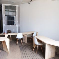 Feeling accomplished and proud of some really hard work I've done over the last week! Designed and built these desks, built that dividing wall with some cool old windows, bought these rad chairs, built some comfy benches going in this co-working area. Going to paint the floors black, hang some pretty lighting. THEN find some cool people who'd like to rent a desk (space comes with free Mazie pets/guard dog)