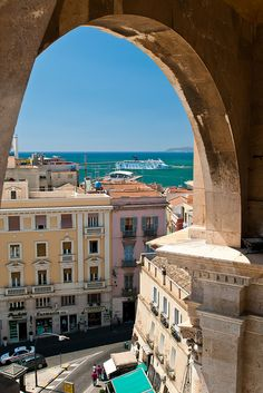 View from the Rampart of Saint Remy in Cagliari - Sardinia, Italy Places In Italy, Oh The Places You'll Go, Places To Visit, Turin, Italy Vacation, Italy Travel, Site Archéologique, Living In Italy, Italy Holidays