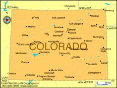 Map of Colorado was the  38th state to join the union.  It became a state on August 1, 1876.  The capital is Denver.
