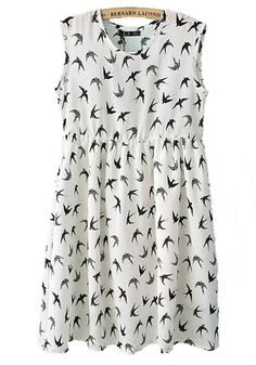 ++ Swallows Print Sleeveless Chiffon Dress