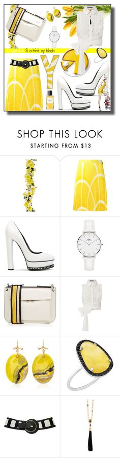 """Yellow & ?........Contest"" by kelly-floramoon-legg ❤ liked on Polyvore featuring MSGM, Casadei, Daniel Wellington, Marni, Marissa Webb, Annette Ferdinandsen, Christina Debs and Oscar de la Renta"