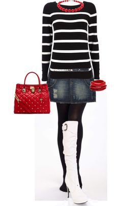 """White Knee-High Boots and a Pop of Red"" by erinlindsay83 on Polyvore"