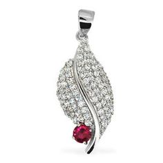 ELANZA AAA Simulated Ruby (Rnd) Simulated Diamond Pendant in Rhodium Plated Sterling Silver