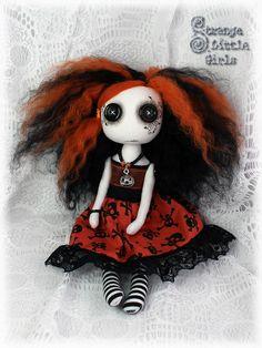 Button eyed, Halloween, cloth art doll Gabby Gatekeeper by Strange Little Girls #halloween #artdolls #buttoneyeddolls