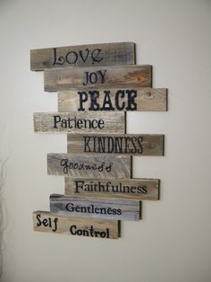 Wooden plaque ideas wood sign pallet sign pallet art fruits of the spirit scripture art wall decor wood plaque wedding gift wooden sign distressed wood on Arte Pallet, Diy Pallet Wall, Pallet Art, Diy Pallet Projects, Pallet Signs, Pallet Wood, Pallet Ideas, Pallet Walls, Barn Wood