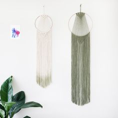 Large Macrame Hoop Wall Hanging Green by MacramaniacStore on Etsy