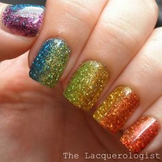Image via  Glittery rainbow nail art   Image via  Cute glitter nail art design-All Sparkly And Gold   Image via  What's better than pink, glitter, and stripes? Try out a striped and spar
