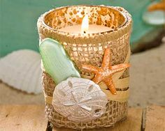 DIY Beach Wedding Shell and Burlap Votive Candle holder made with Mod Melts.  Seashells, beach-glass and sand-dollars
