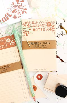 Floral NOTES 50 page notepad printed in Copper ink on manila paper -Stationary…