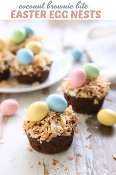 Little bites of fudgy brownies filled with coconut are all dressed up for Easter! Coconut Brownies, Mini Brownies, Fudgy Brownies, Yummy Easter Recipes, Dessert Recipes, Delicious Recipes, Desserts, Healthy Recipes, Spring Recipes