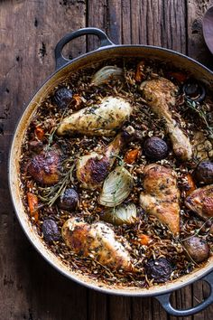 One-Pot Autumn Herb Roasted Chicken with Butter Toasted Wild Rice Pilaf | halfbaked harvest