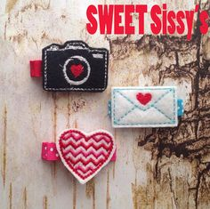 Heart Feltie Clip Set Camera Love Letter and Chevron Heart on Etsy, $9.00