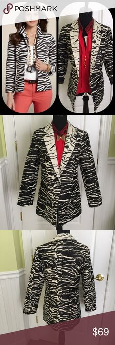 Contrasting black/cream Animal print blazer Great jacket for those times you want to walk on the wild side! CHICO'S size 0=4/6 Chico's Jackets & Coats Blazers