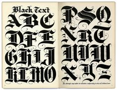 some seriously black black letter type, but with a sophisticated soft side.  this isn't your black metal black letter!