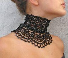Bonis Bunt, Chocker Necklace, Collar Necklace, Chokers, Crochet Doilies, Crochet Lace, Crochet Collar Pattern, Crochet Patterns, Crochet Chocker