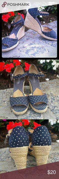 Michael Kors Polka Dot Wedges Pretty navy and white polka dots worn with love.  Great quality - upper soles and straps are leather. MICHAEL Michael Kors Shoes Wedges