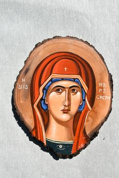 Saint Paraskeui orthodox icon.Handpainted icon. Byzantine Icons, Byzantine Art, Mineral Powder, Orthodox Icons, Tempera, 14th Century, Leather Cord, Saints, Religion