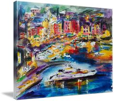 """#Evening In #Portofino #Harbour #Italy"""" by Ginette Callaway: Mixed Media Painting on canvas. Watercolor, Ink and Pastel. To purchase my original art please visit ginettecallaway.com Purchase prints here."""