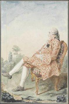Portrait de Monsieur de Cibille, fameux janséniste, assis, de profil, dans un fauteuil, portant une perruque, les jambes croisées, dans un parc, 1759 Louis Carrogis dit Carmontelle