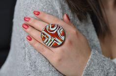 Red Ceramic ring big ring tiffany method  boho style by zolanna