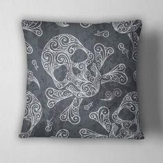 Swirly Skull and Cross Bone Decorative Throw Pillow