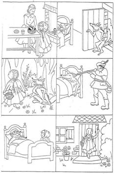 "Images séquentielles ""Le petit Chaperon rouge"" -- six little black-and-white drawings of the main events of Little Red Riding Hood for students to color and put in order -- print in landscape format"