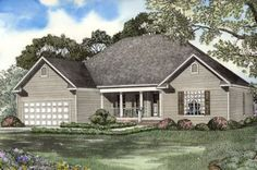 Traditional Style House Plans - 1911 Square Foot Home , 1 Story, 4 Bedroom and 2 Bath, 2 Garage Stalls by Monster House Plans - Plan 12-1062