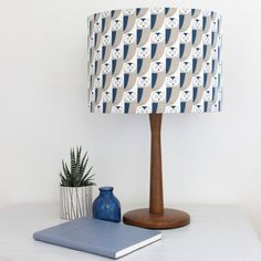 Blue and Grey Owl print Drum Lampshade Lamp by LouiseBrainwood