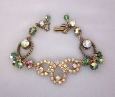 Vintage Assemblage Bracelet - Green Bead and Rhinestones - one of a kind designs by JryenDesigns