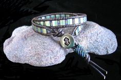 Leather Wrap Bracelet with Tila and Seed Beads