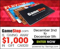 Enter to win in the GameStop $1000 Gift Card Giveaway #sweepstakes ends 12/5/14