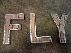 Faux wooden letters, use copper tape on edges instead...