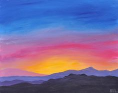 easy mountain painting - Google Search