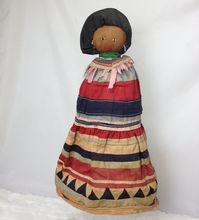 """Larger Older 14"""" Seminole Indian Palmetto Doll Beaded Patchwork"""
