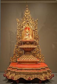 Crowned and bejeweled Buddha image and throne - 1850-1900 - Burma - laquered and gilt wood and metal with mirror inlay | Flickr - Photo Sharing!