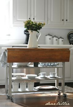 Dear Lillie: Making over our Kitchen Cart-this is pretty much exactly what I want for our kitchen. Kitchen Living, Diy Kitchen, Kitchen Storage, Kitchen Decor, Kitchen Design, Kitchen Ideas, Kitchen White, Drop Leaf Kitchen Island, Kitchen Island Table