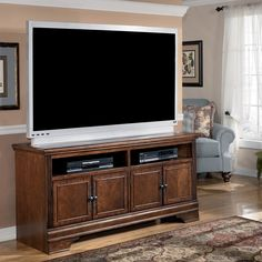 Signature Designs by Ashley Hamlyn Dark Brown Large TV Stand | Overstock.com Shopping - The Best Deals on Entertainment Centers