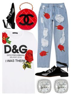 """Untitled #933"" by evmarx ❤ liked on Polyvore featuring Dolce&Gabbana, Givenchy, Chanel and Frederic Sage"