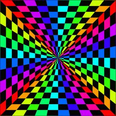 """SINGLE GIF: '""""Color Chex"""" by Smooothe on Deviant Art.' NOTE: PRESS """"VISIT"""" TO SEE 9 MORE GIFS FROM THIS CREATOR. (THEY CHANGE EVERY TIME """"VISIT"""" IS RE-ENTERED.) NTS: I pinned all that I wanted from this collection. Optical Illusion Gif, Cool Optical Illusions, Illusions Mind, Art Optical, Image Illusion, Illusion Art, Rainbow Wallpaper, Butterfly Wallpaper, Overlays Instagram"""
