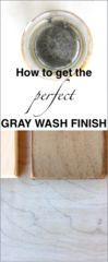 Gray Wash Tutorial (with a lesson on Vinegar Staining)      Gray wash.  I don't know if that's a real word or not but at my house it is!  I fell hard for the gray trend a few years ago, but also grew tired of painting things gray.  I love wood--the grain, the natural warmth it brings to a space, and I had tried countless times to achieve that perfect light gray stain/wash effect.  Gray store-bought stain was too dark and honestly doesn't provide the same richness that the bro...